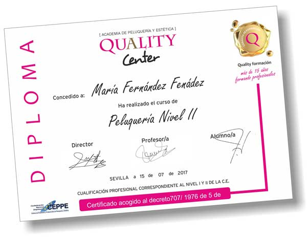 diploma QUALITY CENTER certifi